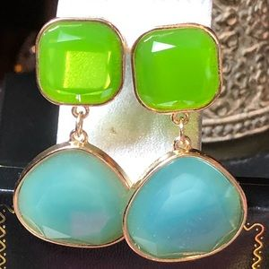 Blue And Green Gold Tone Drop Earrings